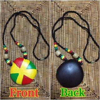 アフリカ ガーナ オリジナルペイント カスタムメイド ラスタ ラスタカラー ウッド×ビーズネックレス