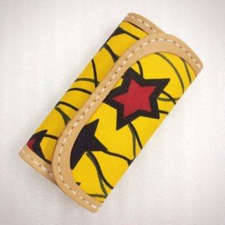 委託商品 レザークラフト×アフリカ布 ハンドメイド キーケース アフリカ アフリカ布 革 雑貨