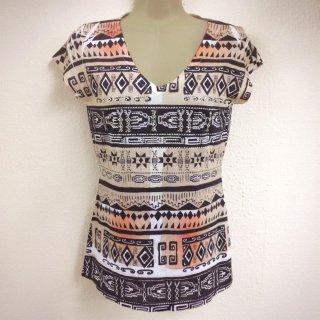 LAインポート Made in USA 幾何学模様 ネイティブ柄 オルテガ柄 半袖Tシャツ