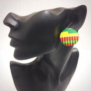 樹脂ピアス ノンアレルギー アフリカ布 アフリカン ハンドメイド カスタム くるみボタンピアス 個性派 hiphop