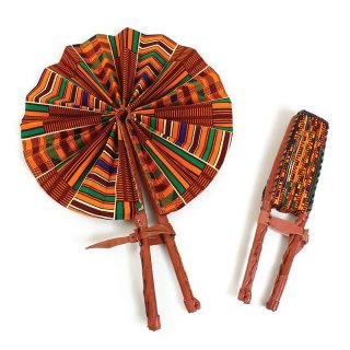 Made in Ghana アフリカ アフリカ布 ケニア産 パーニュ キテンゲ うちわ 扇子 Africa kente