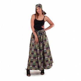 <img class='new_mark_img1' src='https://img.shop-pro.jp/img/new/icons34.gif' style='border:none;display:inline;margin:0px;padding:0px;width:auto;' />アフリカ ケンテ ガーナ ワックスプリント ロングスカート ヘッドラップ付 Africa Kente skirt