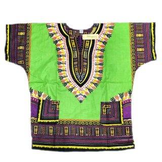 薄手素材 Lime 男女兼用 ダシキ Dashiki 半袖シャツ アフリカ アフリカン 民族衣装  ヒッピー hiphop