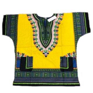 薄手素材 Yellow 男女兼用 ダシキ Dashiki 半袖シャツ アフリカ アフリカン 民族衣装  ヒッピー hiphop