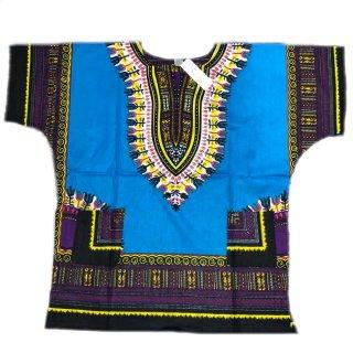 薄手素材 Turquoise 男女兼用 ダシキ Dashiki 半袖シャツ アフリカ アフリカン 民族衣装  ヒッピー hiphop