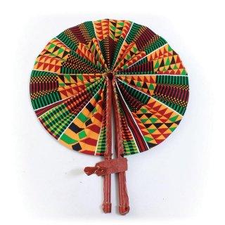 <img class='new_mark_img1' src='https://img.shop-pro.jp/img/new/icons16.gif' style='border:none;display:inline;margin:0px;padding:0px;width:auto;' />Made in Kenya ケンテ アフリカ アフリカ布 ケニア産 パーニュ キテンゲ うちわ 扇子 Africa Kente