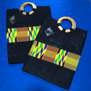 Made in Ghana アフリカ ガーナ ケンテ×ブラック ハンドバッグ Africa Kente