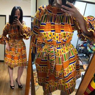 アフリカ ケンテ ガーナ オフショルダー ワンピース Africa Kente dress
