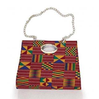 2way ケンテ アフリカンプリント チェーン ハンドバッグ ビッグサイズ African print  Kente bag