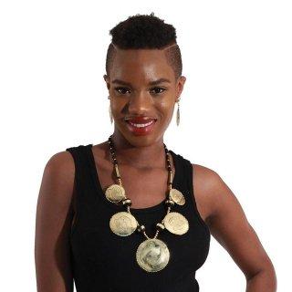 Brass アフリカ ガーナ シンボル アディンクラ ジニャメ ピアス ネックレス セット Africa Ghana Adinkra  Gye Nyame