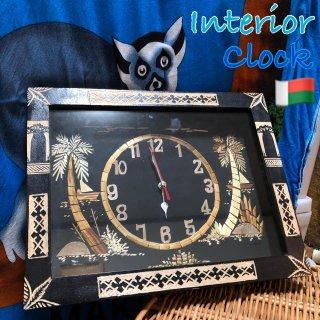 マダガスカル ハンドメイド 壁時計 置時計 アート インテリア 電池付き Madagascar Clock Art
