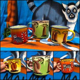マダガスカル ハンドメイド バオバブ ワオキツネザル マグカップ コップ Madagascar Cup