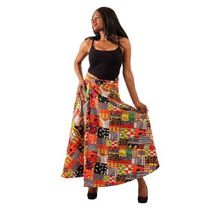 アフリカ パッチワークプリント ラップスカート 巻きスカート 紐結び スカート Africa Patchwork print skirt
