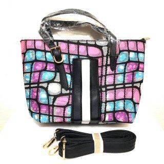 アフリカンプリント アフリカ布×フェイクレザー バッグ ハンドバッグ ショルダー付き パーニュ キテンゲ Bag