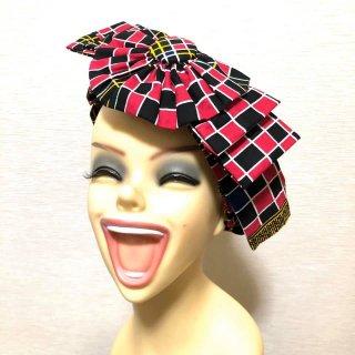 アフリカ布 アフリカ アフリカンプリント くるみボタン リボンモチーフ ヘッドラップ ヘアバンド Africa Head wrap