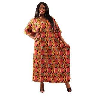 アフリカ ケンテ Vネック カフタン 半袖 ロングドレス Africa Kente Kaftan