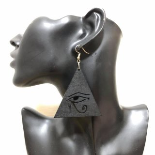 【全2色】ウッド 木製 アフリカ アフリカン エジプト Egypt ホルス ホルスの目 Horus ピアス hiphop