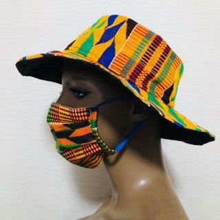 アフリカンプリント 男女兼用 ユニセックス マスク ハンドメイドマスク プリーツマスク