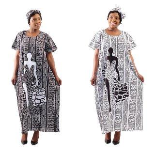 2色 Mud print アフリカンプリント カフタン ワンピース ヘッドラップ付き Africa woman printing Kaftan 01