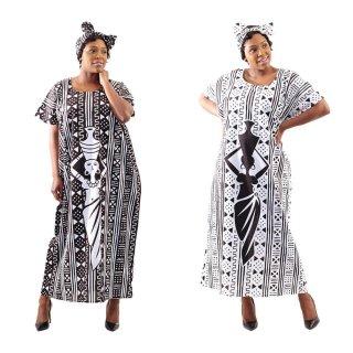 2色 Mud print アフリカンプリント カフタン ワンピース ヘッドラップ付き Africa woman printing Kaftan 02