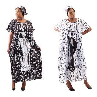 2色 Mud print アフリカンプリント カフタン ワンピース ヘッドラップ付き Africa woman printing Kaftan 03