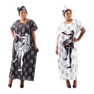 2色 Mud print アフリカンプリント カフタン ワンピース ヘッドラップ付き Africa woman printing Kaftan 04