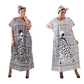 2色 Mud print アフリカンプリント カフタン ワンピース ヘッドラップ付き Africa woman printing Kaftan 06