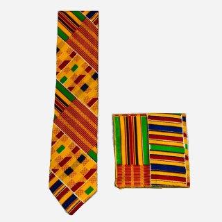 アフリカンプリント ケンテ ネクタイ ハンカチ付 パーニュ キテンゲ African print Kente tie