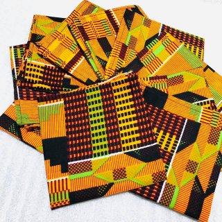 アフリカ アフリカンプリント ケンテ ガーナ ハンカチ African print Kente handkerchief