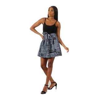 アフリカンプリント 紐付き ミニスカート Africa Mud print  mini skirt