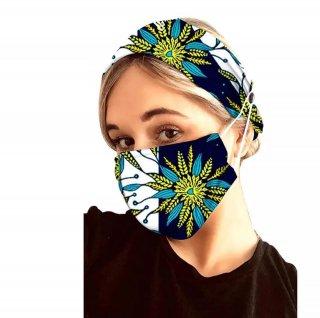 アフリカンプリント ヘアバンド ヘッドラップ ハンドメイドマスク 立体マスク セット