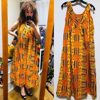 アフリカンプリント ケンテ スリーブレス ロング ワンピース African print Dress Kente