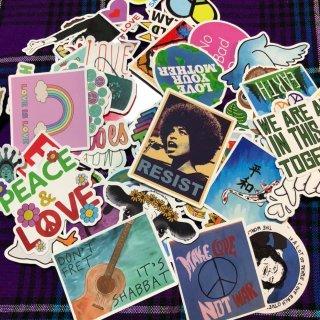 光沢あり 50枚セット ラブ ピース 鳩 平和 地球 sticker Peace Love Earth ステッカー シール