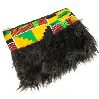 アフリカンプリント アフリカ布 ケンテ ファーポーチ African print porch Kente