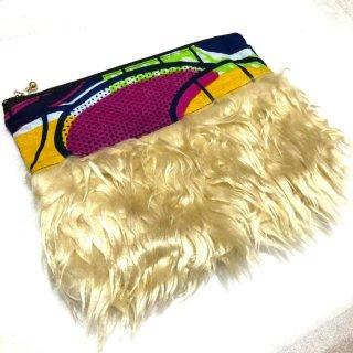 アフリカンプリント アフリカ布 ファーポーチ African print porch