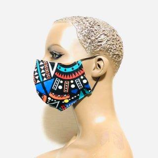 XLサイズ アフリカンプリント 男女兼用 ユニセックス 幾何学模様 マスク ハンドメイドマスク プリーツマスク