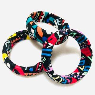 直径6.7cm アフリカンプリント ハンドメイド カスタム 幾何学模様 ウッドブレスレット 個性派