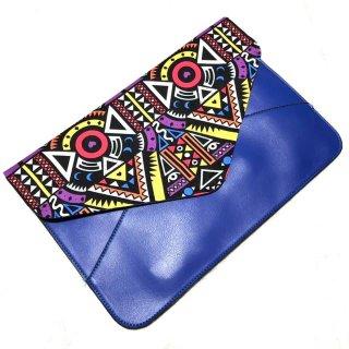≪B級品:訳あり≫ ブルー アフリカンプリント アフリカ布 幾何学模様 クラッチバッグ African print bag