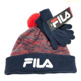 ≪委託商品≫FILA Knit Cap フィラ ニットキャップ 手袋付き(ネイビー)