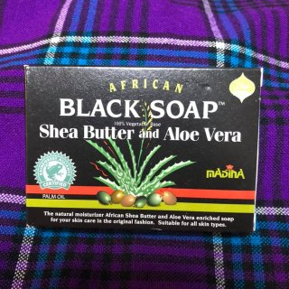106g 100%天然素材 オーガニック 石鹸 AFRICAN BLACK SOAP Shea Butter and Aloe Vera シアバター/アロエ Soap