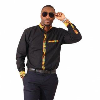 ユニセックス アフリカンプリント ブラック ケンテ 長袖シャツ Kente African print Trim Dress Shirt