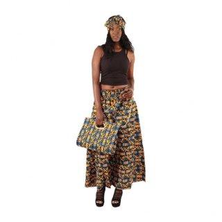 ヘッドラップ付き アフリカンプリント 幾何学模様 パラッツォ パンツ バッグ セット African print Palazzo pant and Bag