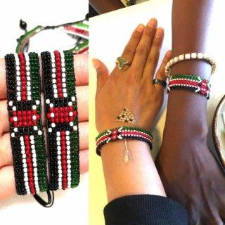 <img class='new_mark_img1' src='https://img.shop-pro.jp/img/new/icons55.gif' style='border:none;display:inline;margin:0px;padding:0px;width:auto;' />Made in Kenya アフリカ ケニア 国旗 レゲエ ビーズ ハンドメイド ブレスレット ビーズブレスレット Africa Kenya Bead bracelet