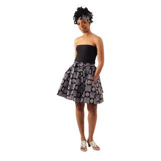 アフリカンプリント アディンクラ ガーナ ジニャメ 紐 / ヘッドラップ付き ブラック ミニスカート African print Adinkra Gye nyame mini skirt