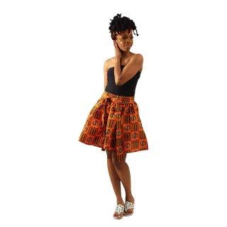 アフリカンプリント アディンクラ ガーナ ジニャメ 紐 / ヘッドラップ付き オレンジ ミニスカート African print Adinkra Gye nyame mini skirt