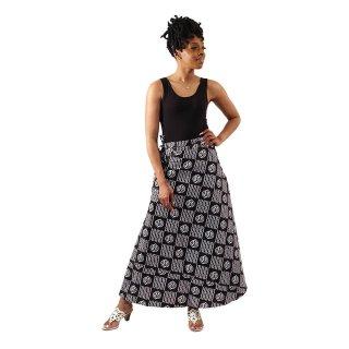 アフリカンプリント アディンクラ ガーナ ジニャメ ブラック ラップスカート 巻きスカート ロングスカート African print Adinkra Gye nyame Wrap skirt