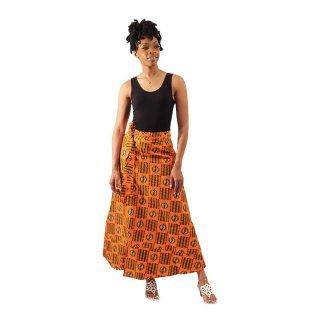アフリカンプリント アディンクラ ガーナ ジニャメ オレンジ ラップスカート 巻きスカート ロングスカート African print Adinkra Gye nyame Wrap skirt