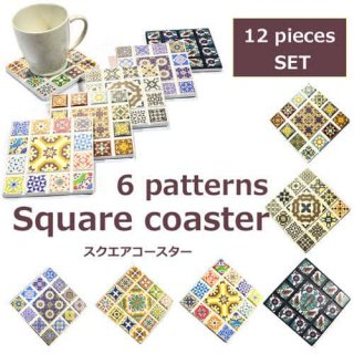 <img class='new_mark_img1' src='https://img.shop-pro.jp/img/new/icons15.gif' style='border:none;display:inline;margin:0px;padding:0px;width:auto;' />エスニック セラミック タイル コースター スクエア型 曼荼羅 幾何学模様 Ethnic wood coaster