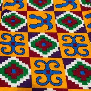 アフリカ布 布 ハンドメイド パーニュ キテンゲ アフリカンバティック アフリカンプリント布 アディンクラ Adinkra Gye Nyame