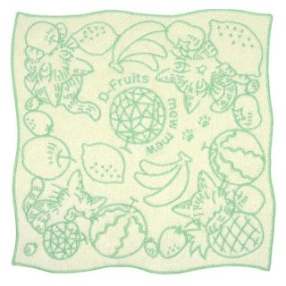 わちふぃーるど 猫のダヤン 竹タオル刺繍ハンカチ Dフルーツ・グリーン